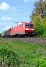 BR 185/11380/die-185-150-mit-einem-gueterzug  Die 185 150 mit einem Güterzug auf dem Weg von Nürnberg Rbf nach Saalfeld und weiter. Hier aufgenommen zwischen Redwitz und Hochstadt.